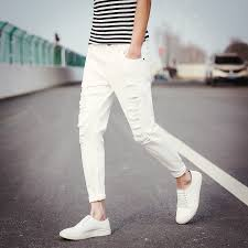 Skinny White Jeans Mens Hole Metrosexual Straight Destroyed Jeans Men 2017 New Casual Slim