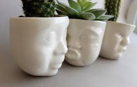 ceramic succulent planter set small pot face planters head