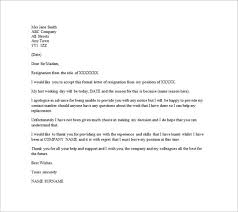 resignation letter template letter of resignation samples