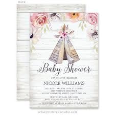 babyshower invitations rustic boho tribal teepee girl baby shower invitations print