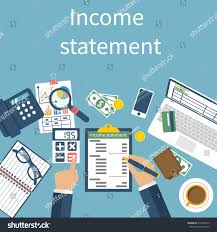 income statement report accounting finance men stock vector