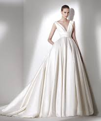 deep v cut ball gown wedding dress in simple satin with pockets