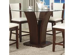 Espresso Dining Room Furniture by Crown Mark Camelia Espresso Round Glass Top Counter Height Table
