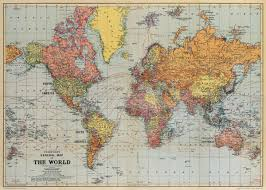 World Map Framed Vintage Map Of The World 30 X 45 5 Print On By Ancientshades
