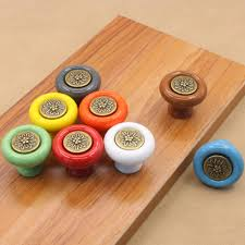 vintage round furniture knobs colorful ceramic carved drawer pulls