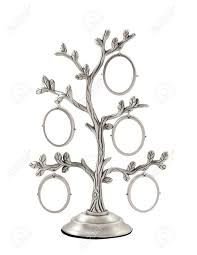 Christmas Tree Picture Frames Silver Genealogical Family Tree With Small Oval Frames Stock Photo