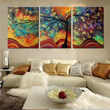 large wall home decor abstract tree painting colorful landscape