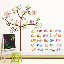 amazon com good manners 5x7 wall cards nursery wall decor decowall da 1503 animal alphabet abc and owl numbers tree kids wall decals wall stickers
