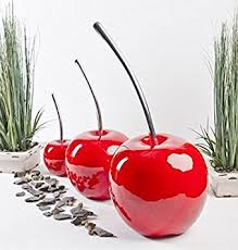 set of 3 beautiful contemporary cherry ornaments indoor outdoor