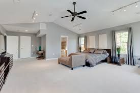 Track Lighting Bedroom Contemporary Master Bedroom With Ceiling Fan Vaulted Ceiling In