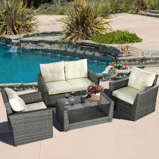 Grey Wicker Patio Furniture by Gym Equipment Outdoor Wicker Rattan Furniture Patio Set 4 Piece