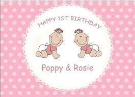 personalised twins first birthday card amazon co uk kitchen u0026 home
