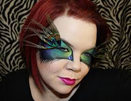 Crazy Makeup Halloween by Peacock Feather Eyelash Jewelry False Eyelashes With Whole