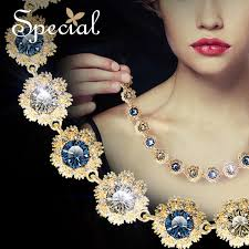 luxury gold necklace images Special new design gorgeous alloy chain necklaces blue zircon gold jpg