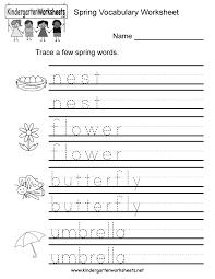 spring vocabulary worksheet for kindergarten kids children will