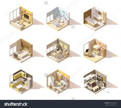 Kids Living Room Set Vector Isometric Low Poly Home Rooms Set Includes Living Room