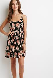 forever 21 floral lace up babydoll dress in black lyst