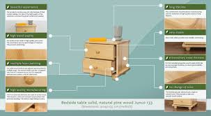 bedside table solid natural pine wood junco 133 dimensions 41 x
