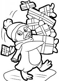 christmas coloring penguin pages printable coloring