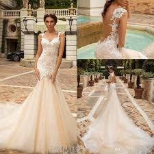 fit and flare wedding dress sheer back mermaid wedding dresses 2017 design bridal