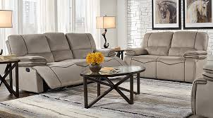 livingroom pc alberta trails gray 5 pc living room with reclining sofa living