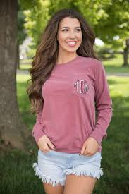 Comfort Colors Brick Comfort Colors Personalized Long Sleeve Pocket Tee Charcoal The