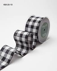 black and white wired ribbon 2 5 inch check ribbon wired may arts wholesale ribbon