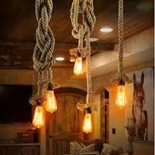 Pendant Lighting Fixture Vintage Rope Loft Pendant Lights Hemp Edison Bulb E27 Pendant L