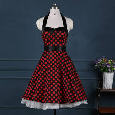 red 50s dress with white polka dot 50s inspired rockabilly vintage