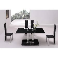 Small Black Glass Dining Table And  Black Dining Chairs - Black dining table for 4