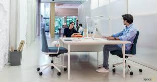 White Office Desks Bench Desks White 4 Person Desk Spaceist Office Furniture