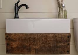 reclaimed wood floating bathroom vanity brown varnished wooden