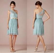 ice blue lace short bridesmaid dresses party dress one shoulder