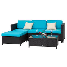 5pc rattan wicker sofa set cushioned sectional outdoor garden