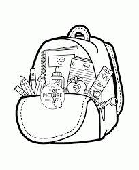 cartoon supplies coloring page for kids back to