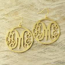 monogram earrings 2018 custom monogram earrings with circle around sted