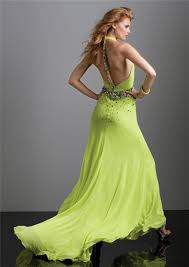 halter v neck backless long lime green chiffon prom dress with
