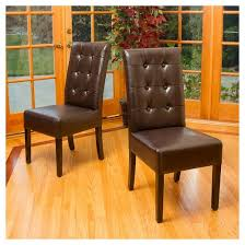 Leather And Wood Chair Jace Button Tufted Leather Dining Chair Wood Brown Set Of 2