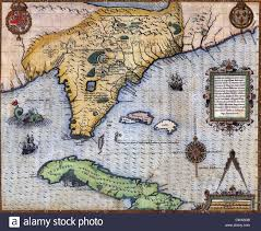 European Exploration Map 1591 Exploration Era Map Of Florida And Cuba By Frenchmen Jacque