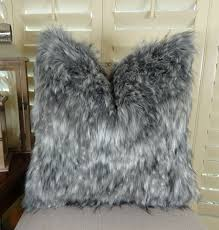 luxury gray faux fur throw pillow cover gray wolf fur pillow
