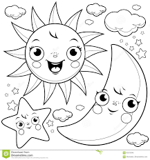 sun moon and stars coloring page stock vector image 93316345