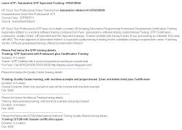 Sample Resume For Qtp Automation Testing by Selenium U0026 Qtp Training Classes In Pune 9922500360 Www