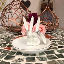 silver rabbit ring holder images Vintage ceramic kissing bunny rabbit ring holder display trinket jpg