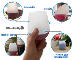 amazon com winemeup silicone wine glasses stemless unbreakable