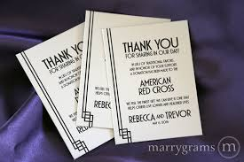 thank you favors lieu of traditional favors donation card deco style