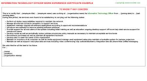 information technology officer work experience certificate