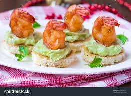 shrimp on toast guacamole sauce avocado stock photo 166623701