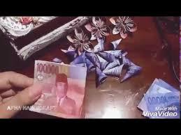 cara membuat origami bunga dari uang kertas tutorial bunga kertas bunga uang palsu youtube