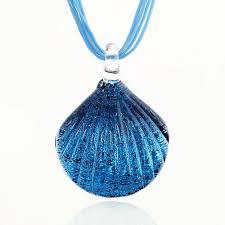 blue shell necklace images Hand blown venetian murano glass art ocean blue seashell shaped jpg