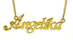 Necklace With Name 18k Gold Plated Necklace With Name Angelika Personalised
